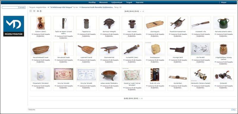A Kismarosi Sváb Muzeális Gyűjtemény műtárgyai a MúzeumDigitár Internetes múzeumi rendszerben