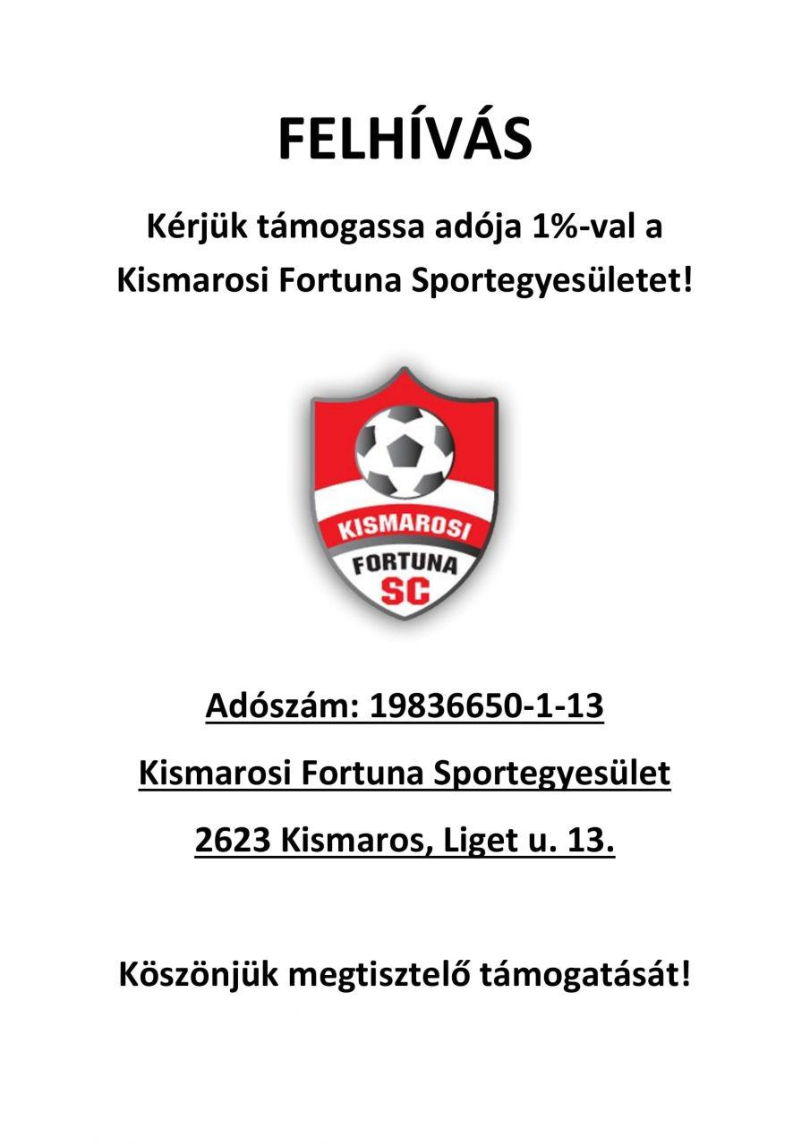 Kismarosi Fortuna SE adó 1%-1