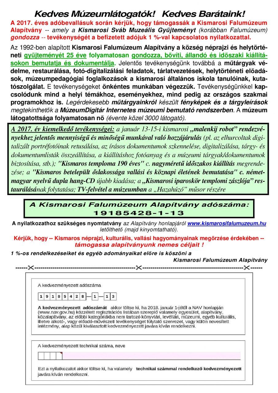 KismarosiFalumuz_2017eviAdo1szazalek_SZINES_SZOROLAP